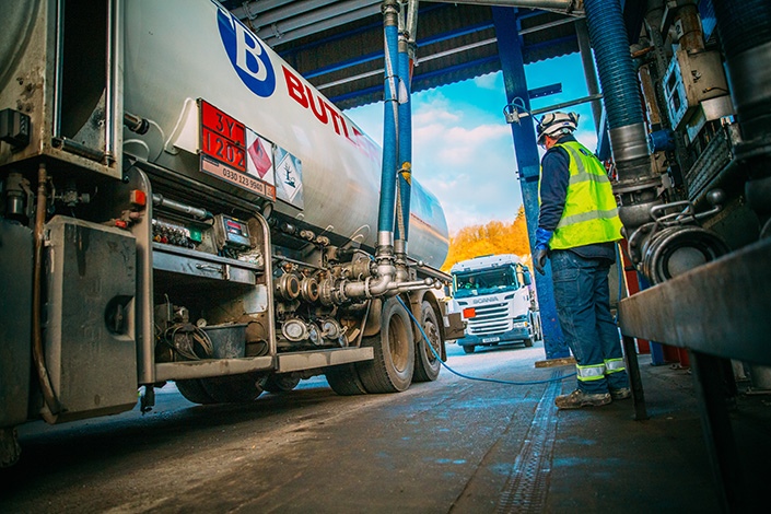 Loading fuels on to road tankers at Inter Terminals Grays Terminal near the Thames